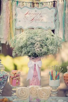 Baby's Breath for Baby Shower Floral Centerpieces, Flower Arrangements, Shower Party, Bridal Shower, Babys Breath Flowers, Girl Shower, Baby Shower, Party Entertainment, Sugar And Spice