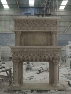 BEAUTIFUL CARVED GOTHIC ESTATE MONUMENTAL FIREPLACE MANTEL - GFPM43 #Unbranded Marble Fireplace Mantel, Marble Fireplaces, Fireplace Mantels, Outdoor Furniture, Outdoor Decor, Beautiful Hands, Hand Carved, Gothic, Carving
