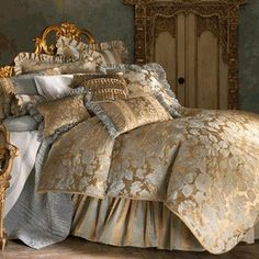 Anastasia Floral Jacquard Blue and Gold Duvet Bedding Duvet Bedding, Bedding Shop, Comforter Sets, Bedroom Bed, Dream Bedroom, Bedroom Decor, Matching Bedding And Curtains, French Country Bedrooms, Luxurious Bedrooms