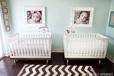 A shared room for a boy and a girl with a chevron rug and icy mint walls.
