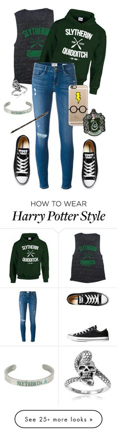 """⚡️⚡️"" by alexispacheco on Polyvore featuring Frame, Converse, Casetify, Journee Collection, Warner Bros., harrypotter, slytherin, GREEN, converse and fandom"