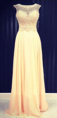 Yellow prom dress, beading prom dress