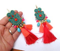Long Colorful Earrings Dangle Drop Earrings by GiSoutacheJewelry
