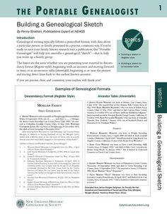 Portable Genealogist: Building a Genealogical Sketch – AmericanAncestors.org