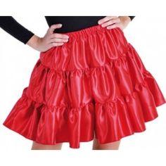 Déguisement jupe à volants rouge satin fille, déguisement enfant, jupe aux genoux, carnaval, danse.