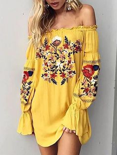 Shirring Off Shoulder Embroidered Flared Tunic Dress