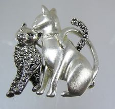 Vintage Silver Tone Cat and Marcasite Kitten Pin Brooch Adorable
