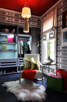 Contemporary Closet by Janet Paik - Red Ceilings and Fur get me all giddy inside!
