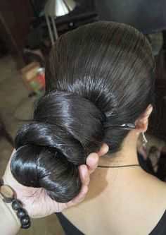 Final touches on his beautiful hair indian hairstyles, braided hairstyles, bun hairstyles for long Bun Hairstyles For Long Hair, Sleek Hairstyles, Permed Hairstyles, Braids For Long Hair, Braided Hairstyles, Indian Hairstyles, Long Indian Hair, Slicked Back Hair, Super Long Hair