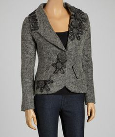 Another great find on #zulily! Gray Rosette Wool-Blend Blazer #zulilyfinds (done by gathering ribbon)