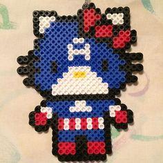 Captain America Hello Kitty perler beads by heyitsarianatho