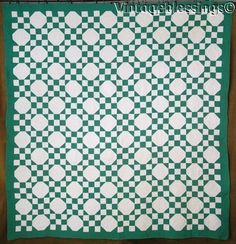 "Wonderful Vintage 30s Cottage Green & White QUILT Flagstone 83"" x 80"""