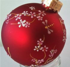 2019 Ornament, Hand Painted Christmas Ornament, Decorative Ornament, Hand Painted Ornament, Cherry Blossom Ornament by TheGroovyCatBoutique on Etsy Painted Christmas Ornaments, Hand Painted Ornaments, Holiday Ornaments, Handmade Christmas, Christmas Tree Decorations, Christmas Crafts, Christmas Bulbs, Christmas 2019, Family Ornament