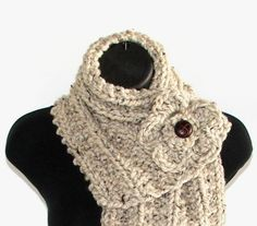 Barley Chunky Knit Ribbed Cowl Scarf with Crochet Flower and Faux Leather Button.