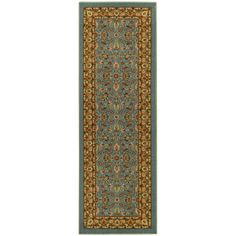 This affordable and fashionable rubber back ocean blue traditional floral non-slip long runner is a great way to set a color theme in the home.