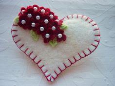 Felt Heart Brooch Beaded Red Flowers