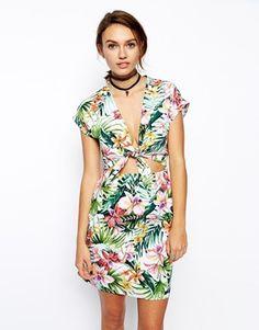 ASOS Reclaimed Vintage Dress With Tie Front In Hawaiian Print