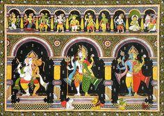 Dashavatar with Combined Forms of Ganesha - Hanuman, Shiva - Parvati  and Vishnu - Lakshmi with Their Vahanas (Orissa Paata Painting on Tussar Silk - Unframed))