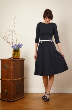 "maritimes Kleid ""Elisa"" mit Tellerrock // sailor dress with flared skirt by Jekyll und Kleid via DaWanda.com"