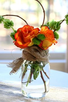 Creative DIY Flower Arrangements/ Roses in Jars Tied With Burlap