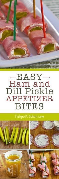 Easy Ham and Dill Pickle Appetizer Bites are the perfect low-carb and gluten-free nibble for watching sports or any time people need something fun to snack on! [found on http://KalynsKitchen.com]