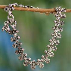 Sterling Silver Charm Anklet Indian Jewlery - Jaipur Dancer | NOVICA