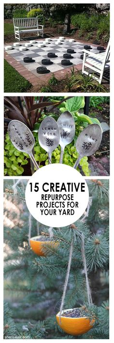 15 Creative Repurpose Projects for Your Backyard - save money, and DIY some beautiful planters, feeders, plant tags, and more!   Bees and Roses