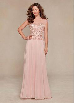 comprar Gorgeous gasa Bateau escote palabra de longitud una línea madre de los vestidos de la novia de descuento en Dressilyme.com