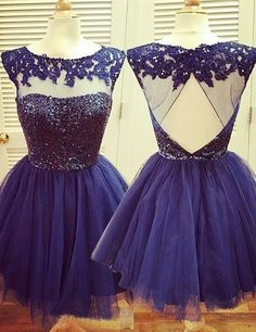 A-Line Jewel Open Back Navy Blue Tulle Short Homecoming Dress with Lace Beading