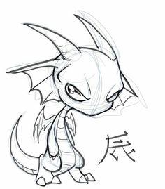 easy drawings chibi dragon draw dragons sketch sketches drawing cartoon head pencil simple step animal db discover