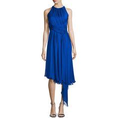 Carmen Marc Valvo Sleeveless Asymmetric Cocktail Dress ($680) ❤ liked on Polyvore featuring dresses, royal blue, blue sleeveless dress, asymmetrical hem dress, sleeveless cocktail dress, pleated dress and chiffon dress