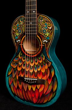 Hand Painted Lichty Parlor Guitar, crafted by NC custom guitar builder/luthier Jay Lichty of Lichty Guitars. Artwork by Clark Hipolito Acoustic Guitar Case, Guitar Diy, Cool Guitar, Blue Guitar, Arte Do Ukulele, Painted Ukulele, Painted Guitars, Guitar Painting, Beautiful Guitars