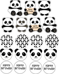 Panda Party Party Toppers Printable - INSTANT DOWNLOAD Party Toppers Contains 19 Cupcake Toppers for 1 Letter page (Different Sizes): 8 Round Panda toppers - 1.8 inches 4 Panda face toppers - 1.8 inches 7 Figured Panda toppers - 2 inches ______ This item could be personalized! Feel Panda Party, Panda Themed Party, Panda Birthday Cake, Bear Birthday, Boy Birthday Parties, Unicorn Party Supplies, Baby Shower Party Supplies, Bolo Panda, Panda Cupcakes