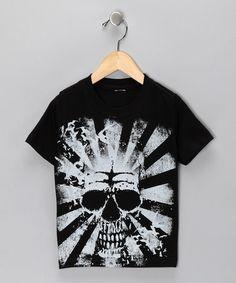 Black Skull Sunburst Tee  from Micro Me