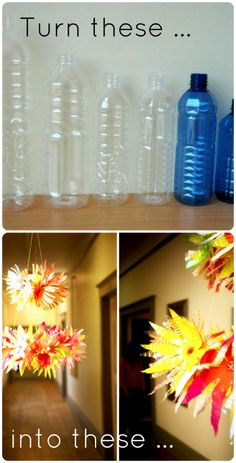 plastic bottle art the ReFab Diaries: Upcycle: Plastic bottles = Spring chandelier Plastic Bottle Caps, Plastic Bottle Flowers, Recycle Plastic Bottles, Upcycled Crafts, Recycled Art, Diy Crafts, Creative Crafts, Water Bottle Crafts, Bottle Art