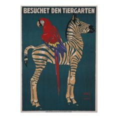 Vintagel Poster, German Zoo, colors