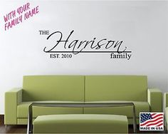 Vinyl Wall Decal Art Saying Quote Decor Personalized Family Name G5 | eBay