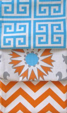 Suzani Designer Decorative Pillow - Aqua Blue Orange Gray - 12x18 inch - Suzani Pillow - BOTH SIDES - Orange Pillow - Designer Pillow. $28.00, via Etsy.