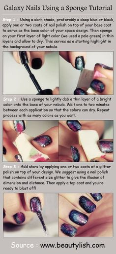 Galaxy Nails Using a Sponge Tutorial