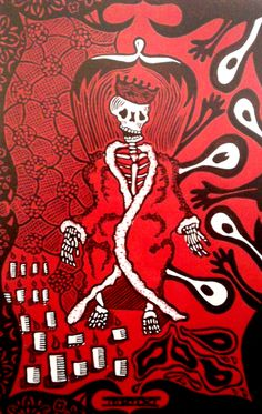 """Autor: Ana Arista, """"La muerte y la muerte"""", técnica: linóleo Camafeo."""
