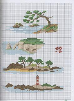 Kanaviçe deniz manzara mini tablo