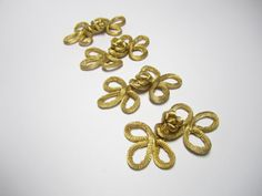 Chinese knot button closures  4 pairs light gold by TintinBeads