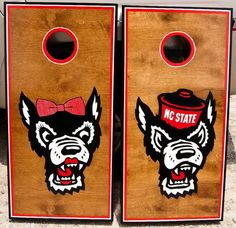 Mr and Mrs Wuf cornhole boards! Cuteee