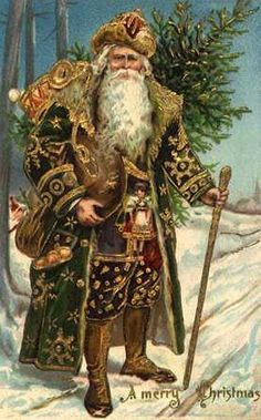 I love the velvet costumes of these two Santas.  They remind me of the shepherd's costume Mother made for me for my 6th grade Christmas Pageant. http://livingthelifefandango.blogspot.com/2011/11/vintage-christmas.html
