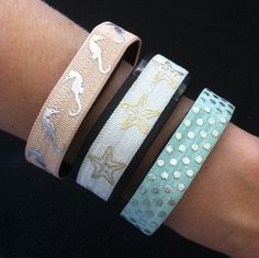 NEW!!!  Fitbit Flex, Fitbit Charge, ChargeHR Decorative Bands, Set/3: Peach Seahorse (SH06), White Starfish (SF04), Aqua w/Small Silver Dots (PD24) by BananaWindDesign on Etsy