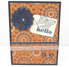 Hello Card  Butterfly Card  Navy Blue and by PrettyByrdDesigns, $4.00