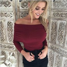 women sweater shirt slash neck long sleeve sweaters woman Sexy elasticity off shoulder hot sale new arrived