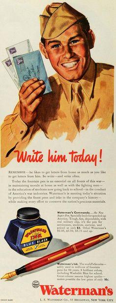 "Waterman Pen & Ink Ad; ""Commando"" model, c. 1941 - c. 1945"