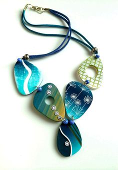 Blue statement necklace by Mabcrea. Silk screen, skinner blend, Polymer necklace, modern jewelry