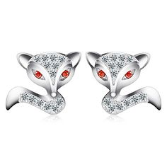 Wicary Fox Diamond Zircon Sterling Silver Earrings Ear Stud for Women ** Continue to the product at the image link. (This is an affiliate link and I receive a commission for the sales) Promise Necklace, Fine Jewelry, Jewelry Making, Matching Necklaces, Ear Studs, Jewellery Display, Designer Earrings, Jewelry Trends, Women's Earrings